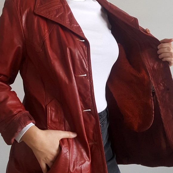 1990's Leather Jacket with Fuzzy Zip-In Vest